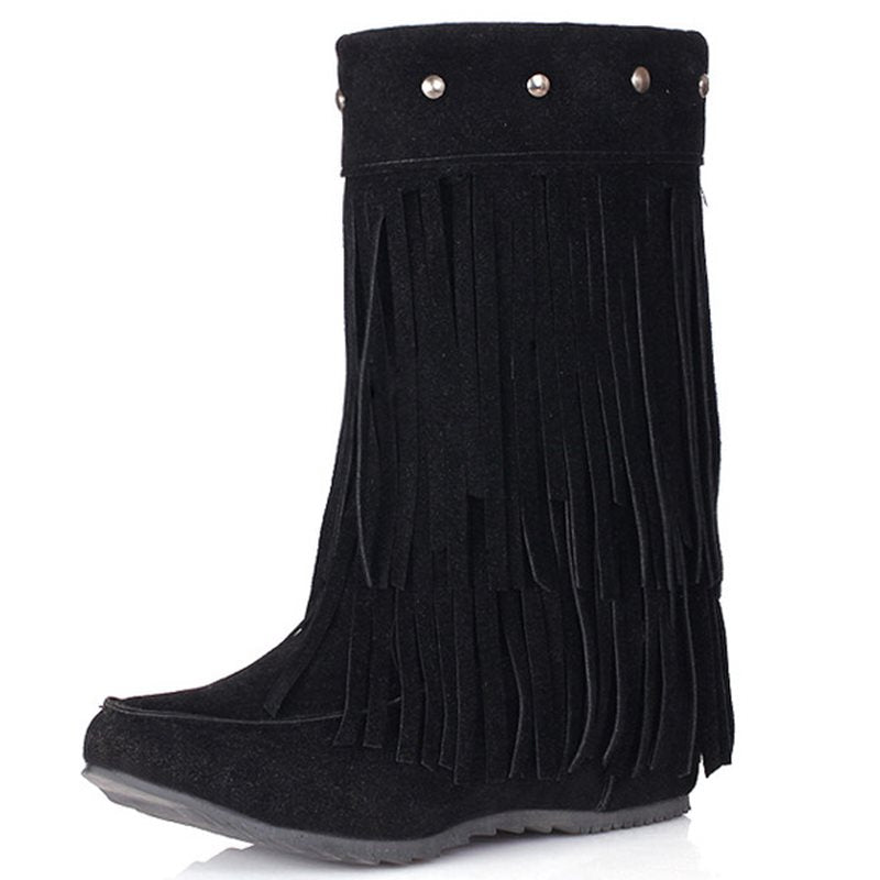 Plain Hidden Elevator Heel Slip-On Round Toe Western Short Floss Boots