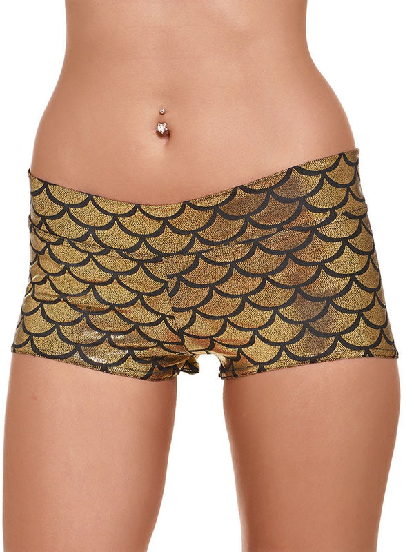 Anti-Sweat Polyester Print Shorts Summer Female Sports Bottoms