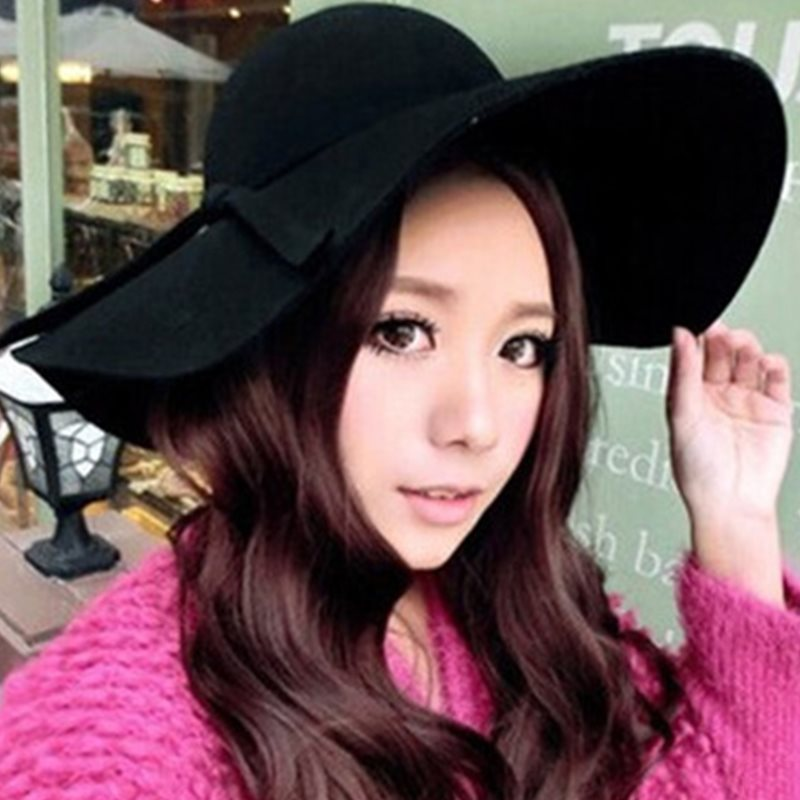 Wool Blends Fedora Hat Bowknot Spring Hats