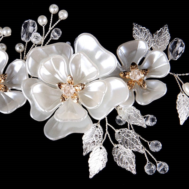 Headband Pearl Inlaid Plant Prom Hair Accessories
