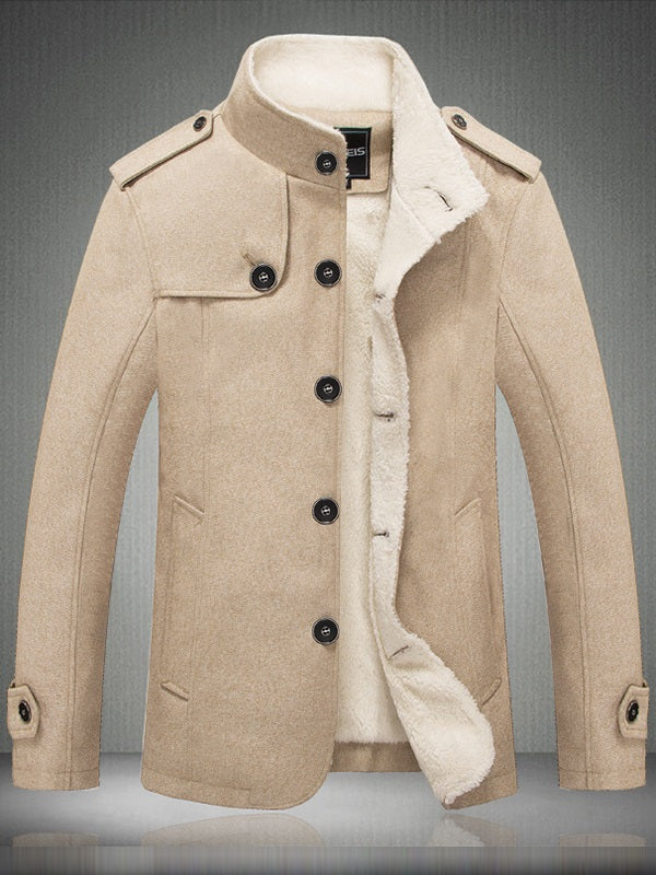 Thick Stand Collar Button Korean Slim Trench Coats