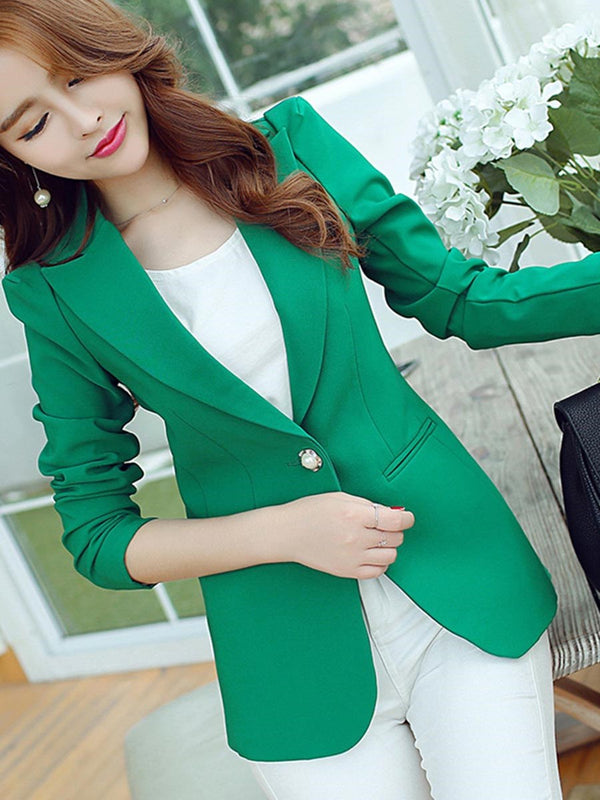 Notched Lapel Plain One Button Standard Fall Casual Blazers