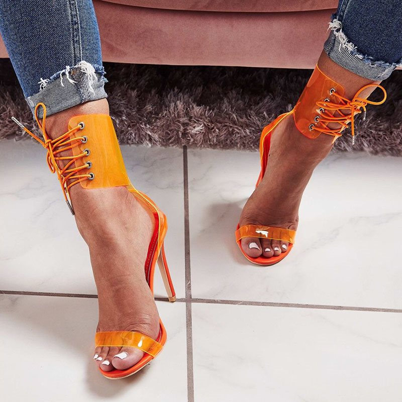 Stiletto Heel Lace-Up Open Toe Heel Covering Cross Strap Casual Sandals