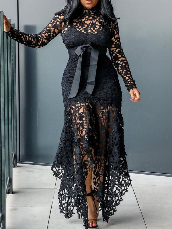 Lace-Up Long Sleeve Floor-Length Pullover Sexy Maxi Dress