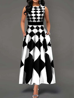 Print Round Neck Ankle-Length Geometric A-Line Dress