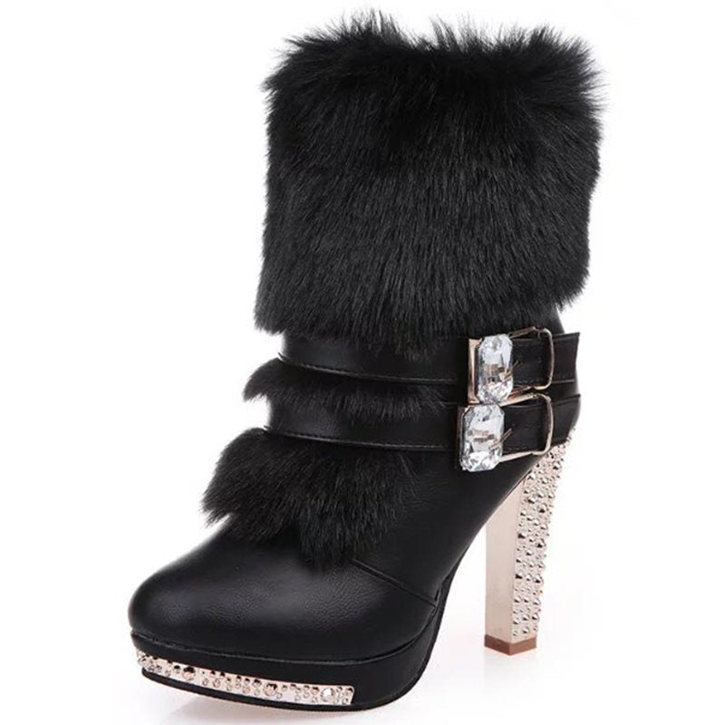 Plain Chunky Heel Side Zipper Round Toe Western Short Floss Boots