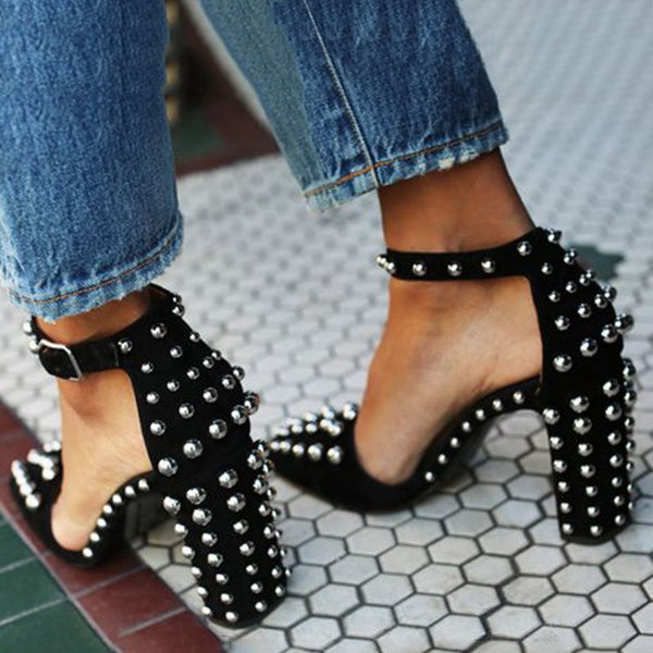 Chunky Heel Rivet Pointed Toe Sandals
