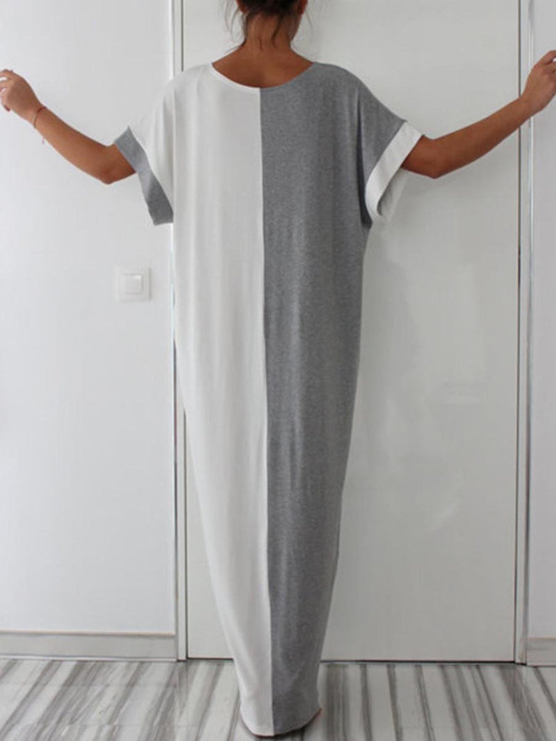 Patchwork Half Sleeve Floor-Length Pullover Color Block Dress