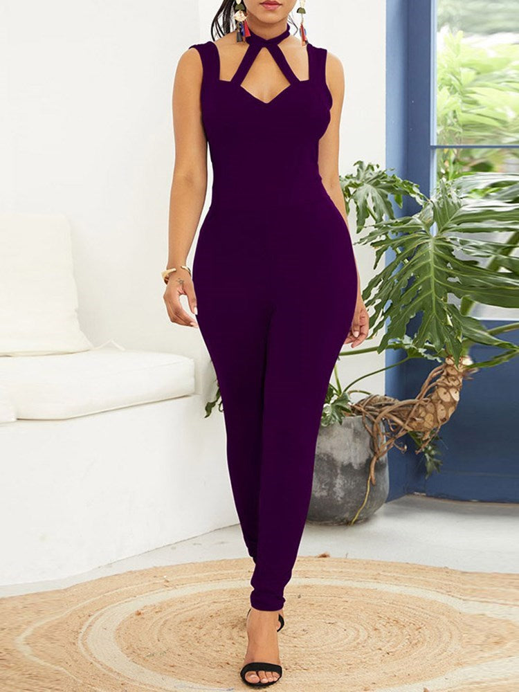 Plain Backless Full Length High Waist Skinny Jumpsuit