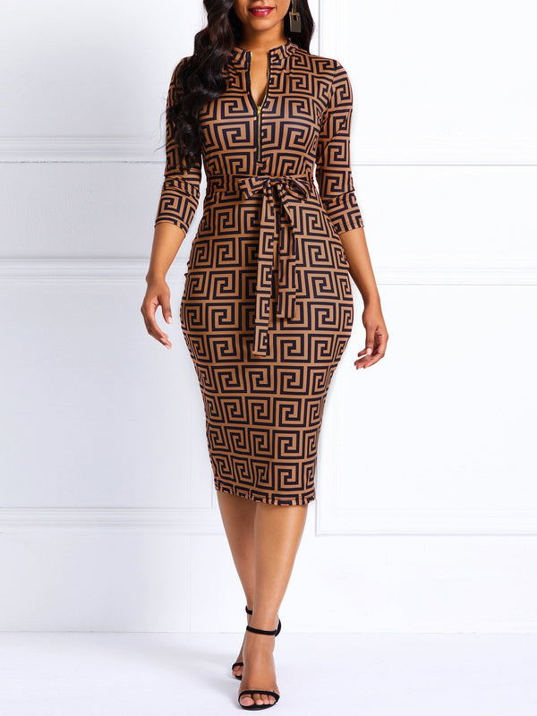 Knee-Length Three-Quarter Sleeve Print Casual Dresses