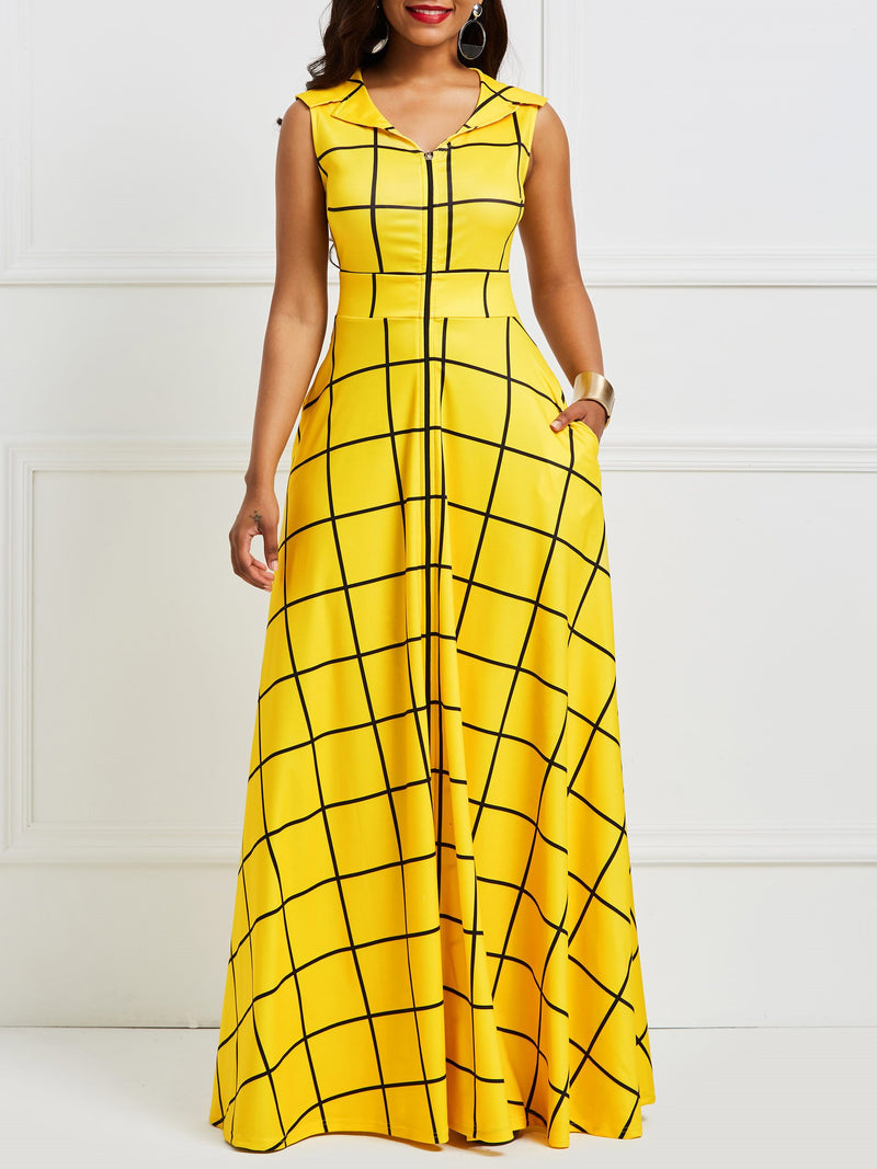 Notched Lapel Floor-Length Sleeveless Pullover Plaid Maxi Dresses