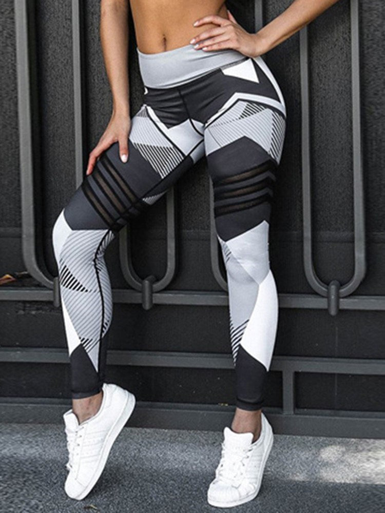 Polyester Print Breathable Geometric Female Winter Yoga Sports Bottoms