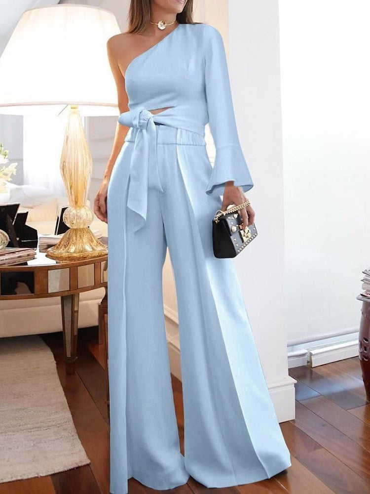 Plain Full Length Lace-Up Slim Wide Legs Jumpsuit