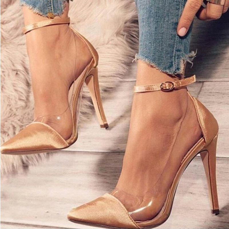 Stiletto Heel Buckle Buckle Pointed Toe Banquet Ultra-High Heel Thin Shoes