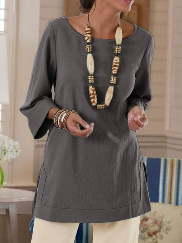 Round Neck Three-Quarter Sleeve Plain Casual Straight Blouse