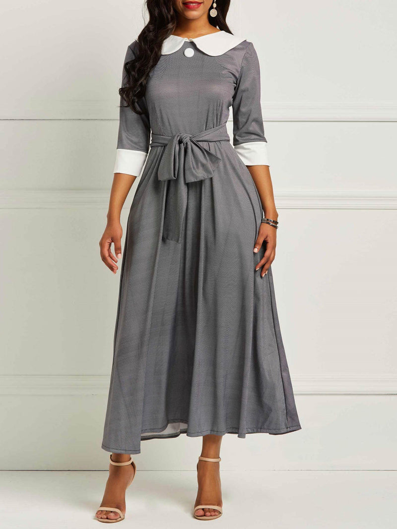 Mid-Calf Three-Quarter Sleeve Peter Pan Collar Pullover Sweet Dress