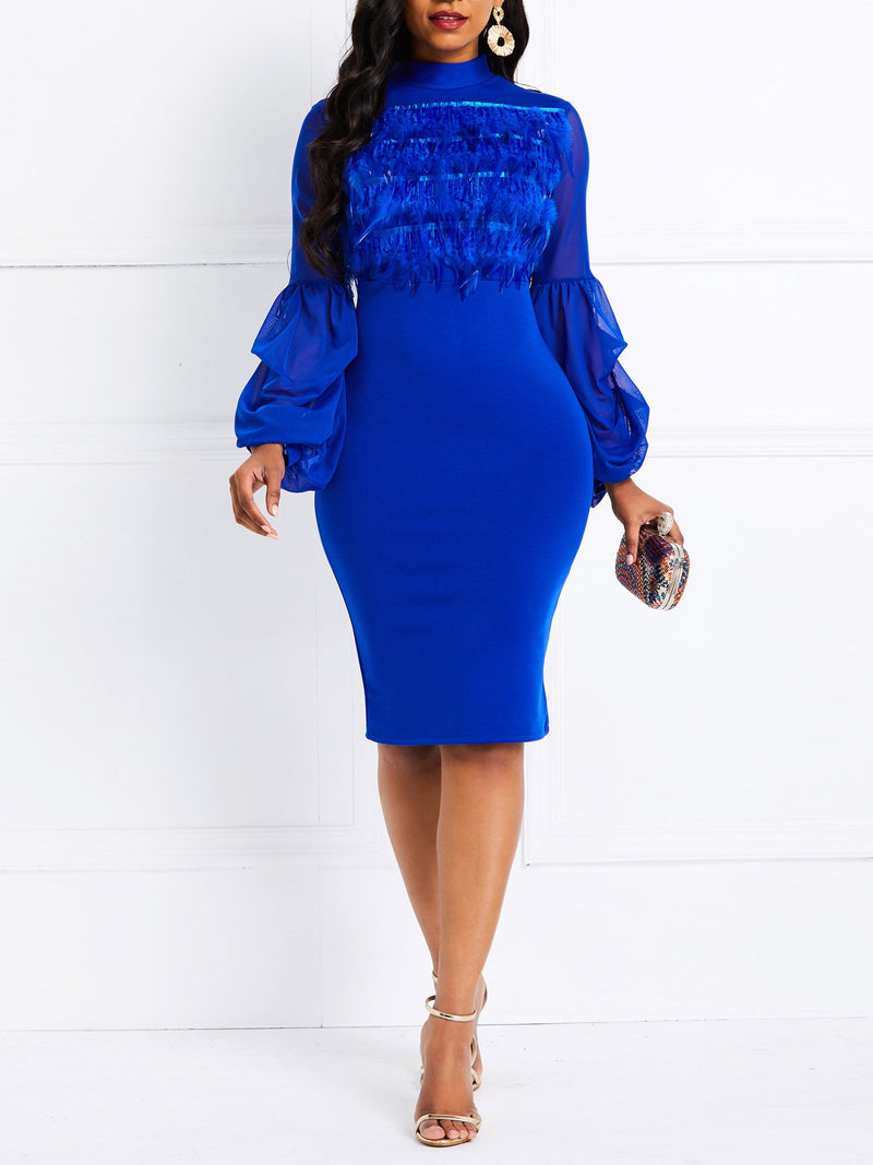 Knee-Length See-Through Long Sleeve Pullover Plain Dress