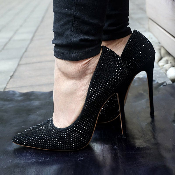 Slip-On Rhinestone Pointed Toe Stiletto Heel 12cm Professional Thin Shoes