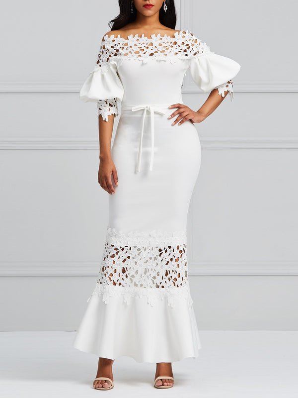 Lace Half Sleeve Off Shoulder Plain Lantern Sleeve Maxi Dresses