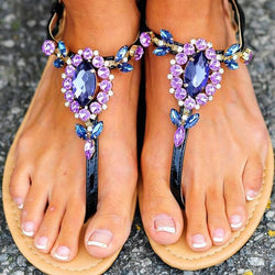 Thong Slip-On Plain Rhinestone Sandals
