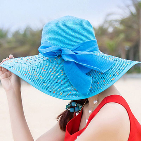 Bowknot Straw Plaited Article Sun Hat Plain Hats