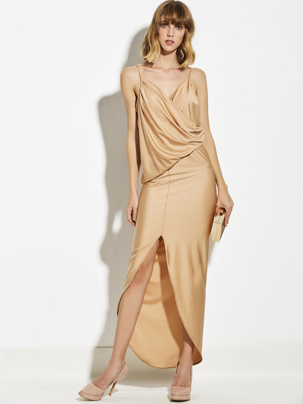 Ankle-Length Asymmetric Sleeveless Spaghetti Strap Asymmetrical Dress