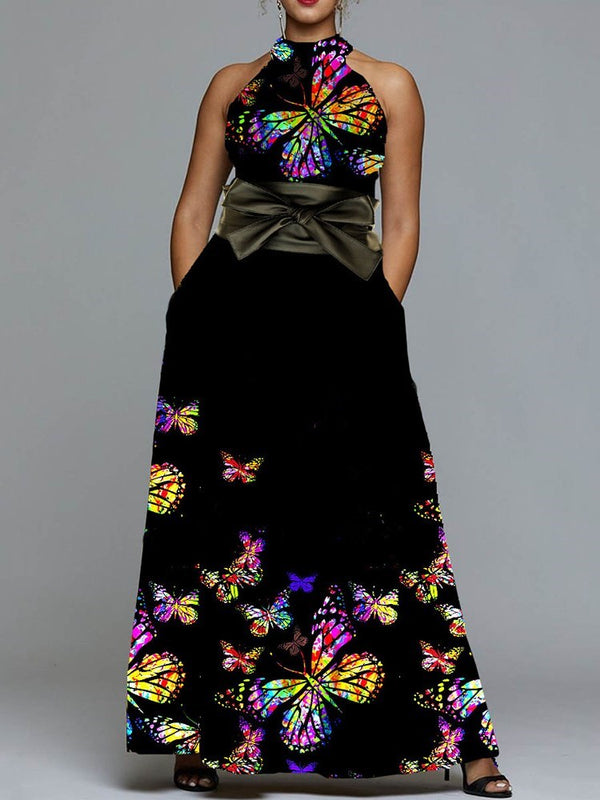 Print Stand Collar Floor-Length Animal A-Line Dress