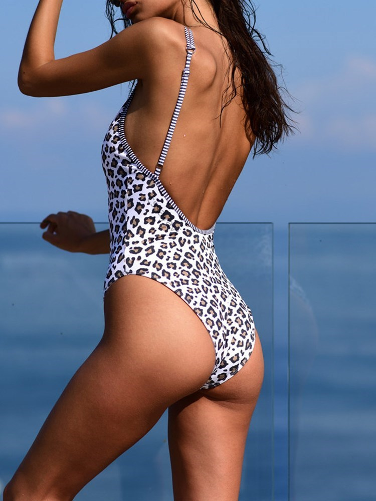 Stripe Beach Look One Piece Swimwear