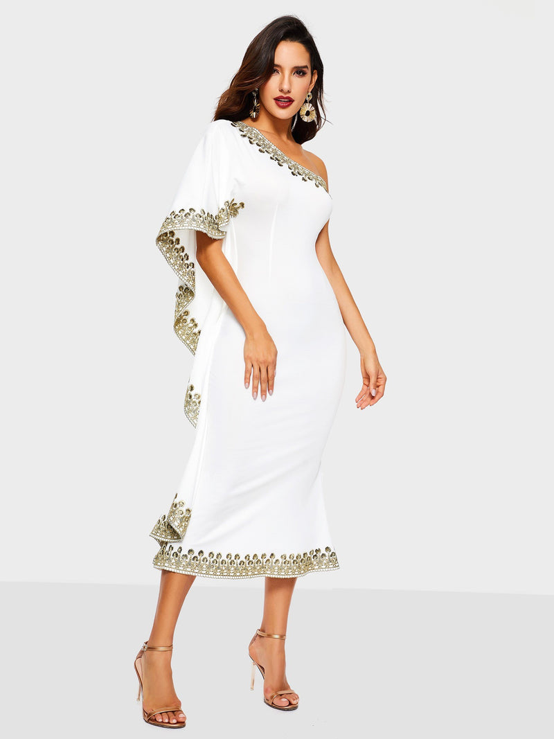 Embroidery Half Sleeve Mid-Calf Floral Party/Cocktail Dress