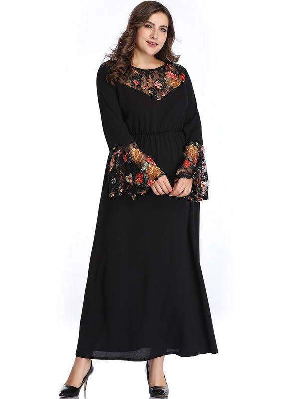 Round Neck Ankle-Length Long Sleeve Date Night/Going  Out Flare Sleeve Dress