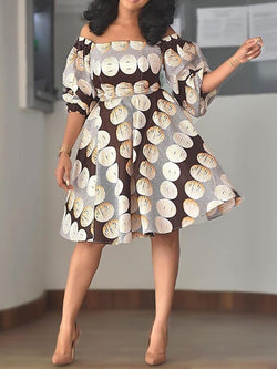 Off Shoulder Above Knee Half Sleeve Pullover Geometric Dress