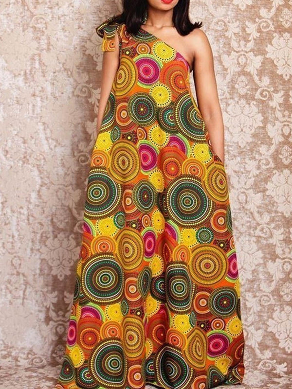 Oblique Collar Floor-Length Print A-Line One-Shoulder Casual Dresses