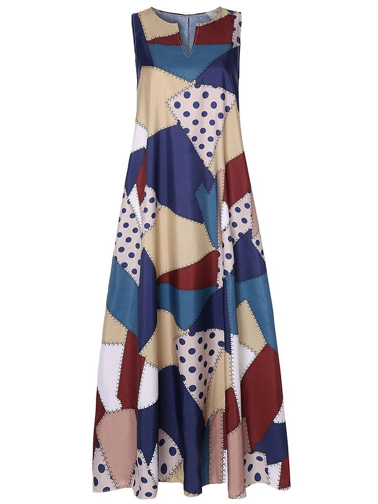 Erchic Print V-Neck Ankle-Length Color Block Pullover Dress
