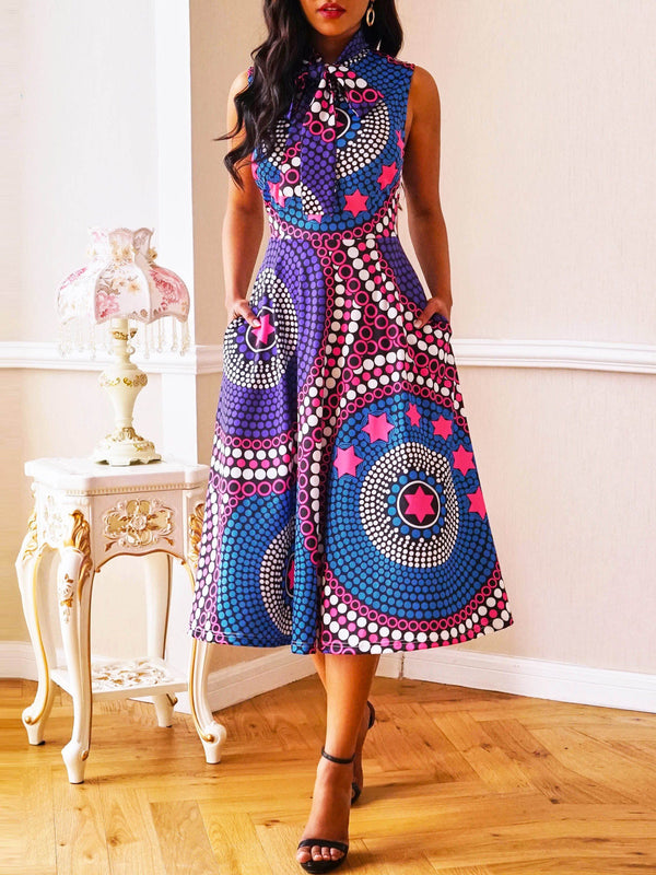 Print Mid-Calf Sleeveless Geometric Pullover Dress