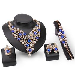 Floral Pearl Inlaid Necklace Wedding Jewelry Sets