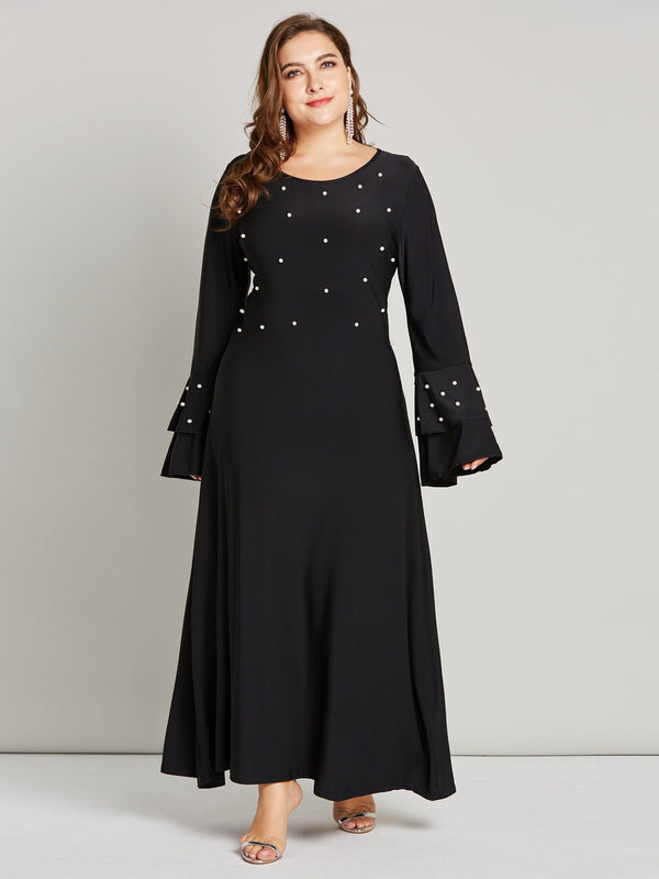 Long Sleeve Ankle-Length Round Neck Expansion High Waist Dress