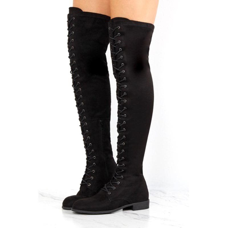Round Toe Block Heel Side Zipper Plain Short Floss Casual Boots