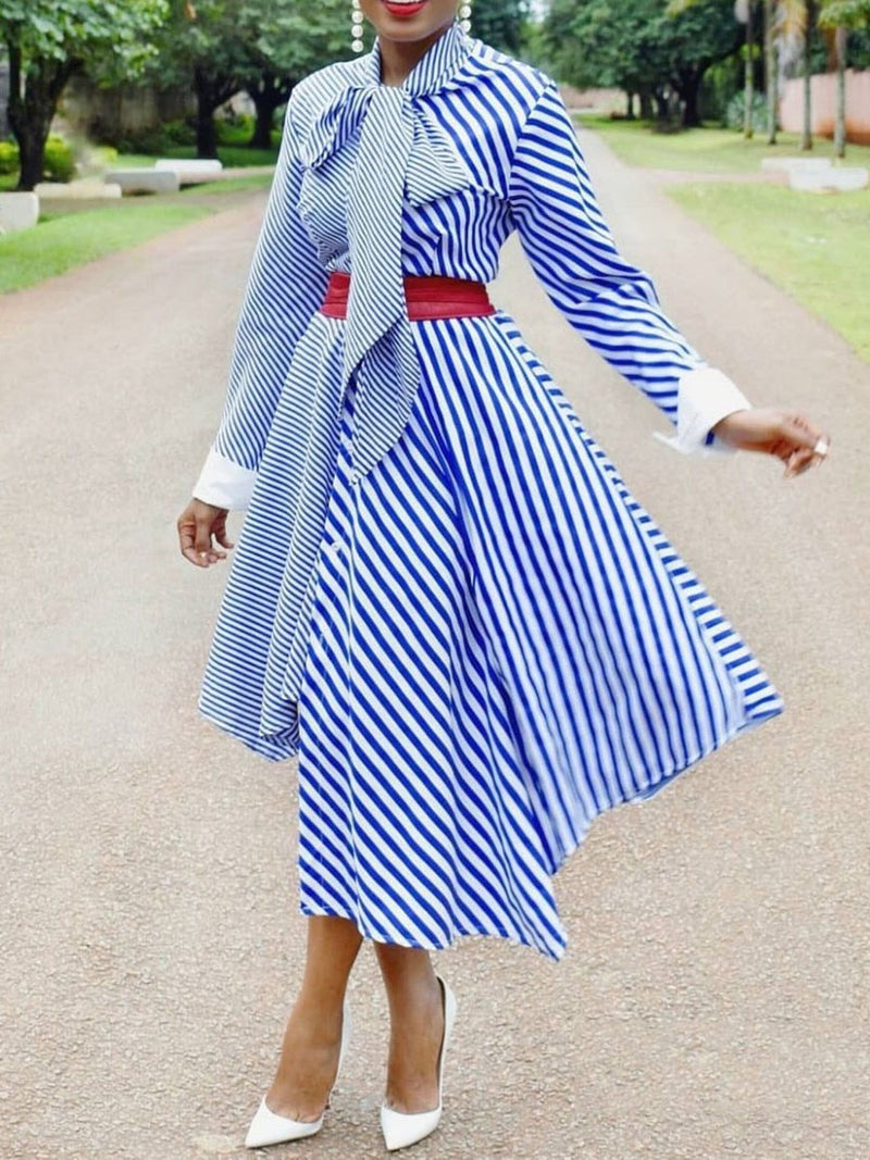 Long Sleeve Patchwork Mid-Calf Casual Stripe Dress