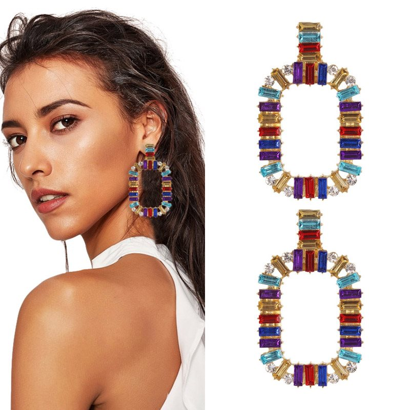 European Color Block Alloy Holiday Earrings