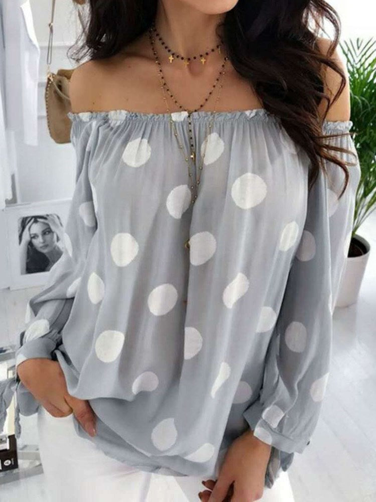 Polka Dots Off Shoulder Lantern Sleeve Mid-Length Nine Points Sleeve Blouse