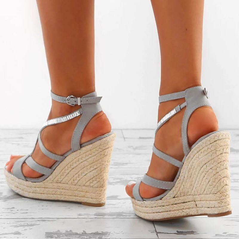 Open Toe Wedge Heel Buckle Strappy Low-Cut Upper Casual Sandals