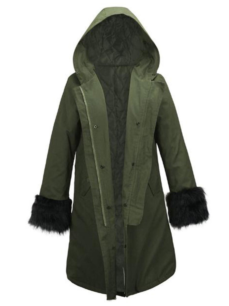 Loose Lace-Up Single-Breasted Long Cotton Padded Coats