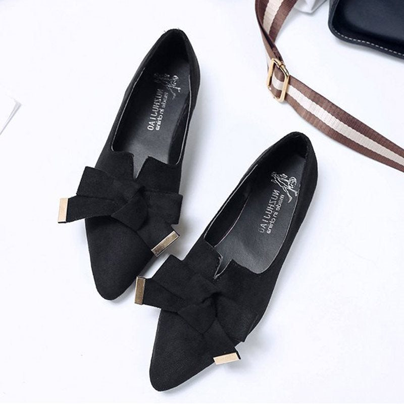 Pointed Toe Block Heel Slip-On Bow Low-Cut Upper Casual Thin Shoes