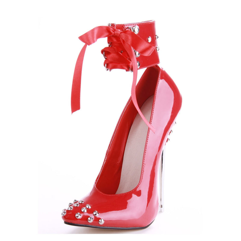 Line-Style Buckle Stiletto Heel Rivet Pointed Toe 16cm Pumps