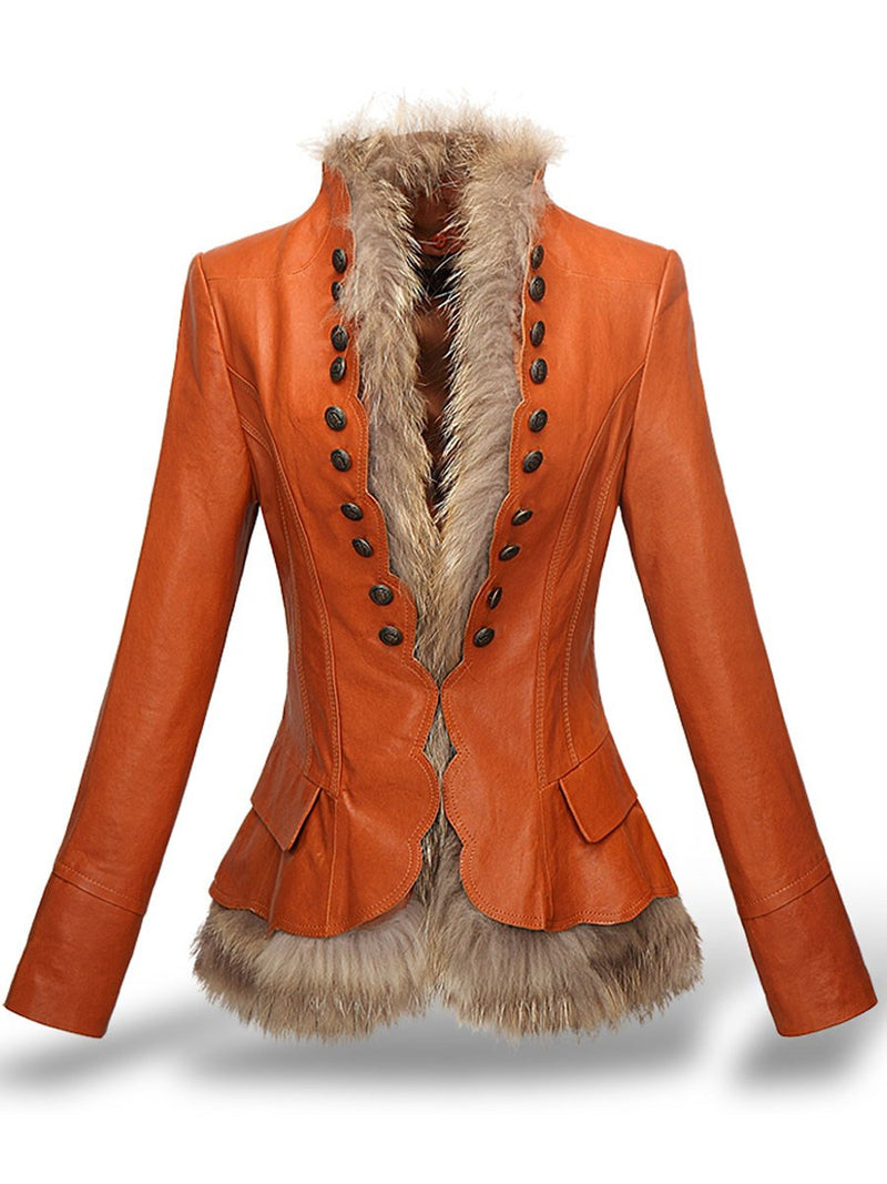 V-Neck Short Slim Thick Faux Fur Overcoat