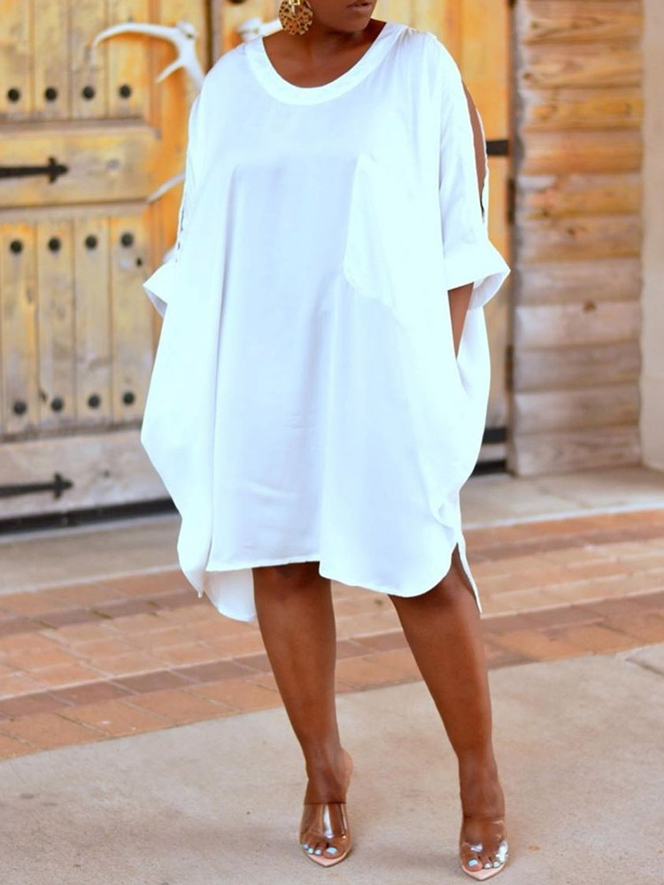 Split Round Neck Mid-Calf Cold Shoulder Plain Dress