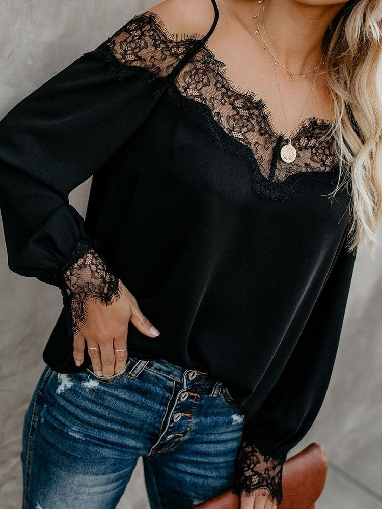 Plain Lace Long Sleeve Standard Blouse
