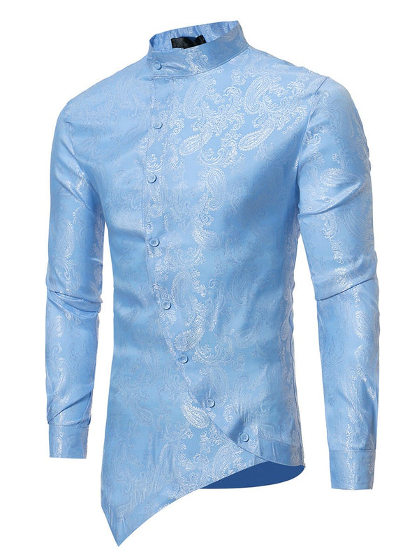 Stand Collar Floral Print Slim Summer Men's Shirts