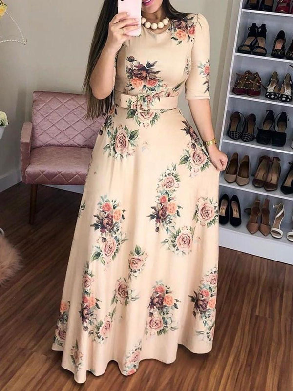 Floor-Length Round Neck Print Pullover Expansion Dress