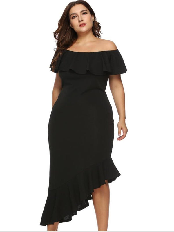 Ankle-Length Asymmetric Off Shoulder Plain Standard-Waist Dress